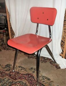 Vintage Child Chair American Desk Mfg Co Curved Wood Metal Frame Usa