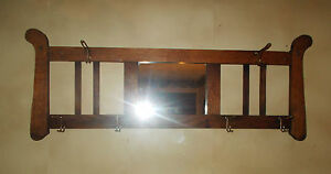 Antique Arts Crafts Missoin Tiger Oak Wall Mount Hat And Coat Rack With Mirror