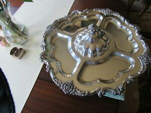 Stunning Silver Plated Lazy Susan 5 Compartment Serving Tray With Lid 20 5