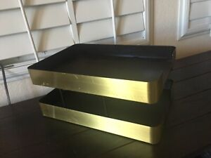 Smokador 2 Tier Desk Tray File Holder Brushed Brass Goldtone Mid century Modern
