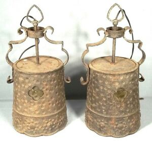 Pair Antique Early 20th Century Arts Crafts Mission Hammered Tin Hanging Lights