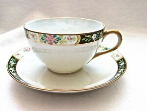 Nippon Hand Painted Teacup And Saucer Japan Enameled Flowers And Leaves