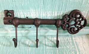 Chamber Skeleton Key Hook Cast Iron Wall Mount New Rustic Old Fashioned Vintage