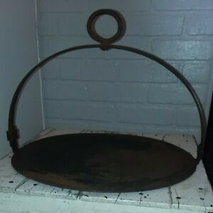 18c Early Primitive 15 Round Hanging Wrought Iron Fireplace Griddle Aafa