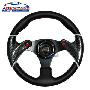 320mm Mugen Steering Wheel 6 Bolts Red Stitch Pvc Leather Aluminum