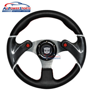 Black Pvc Leather Red Stitch 32cm Steering Wheel Transformers 6 Hole Horn Button