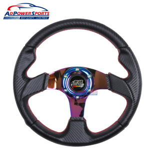 Pvc Leather 32cm Steering Wheel Cf Look Red Stitch 6 Bolt Universal Fit Mugen