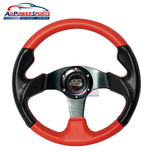 Mugen Style 320mm Steering Wheel Black Cf Face Red Pvc Leather Red Stitch