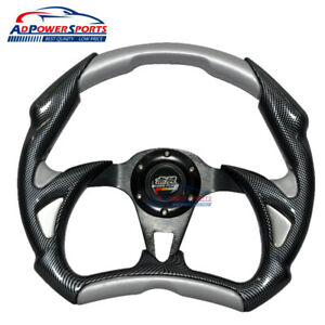 Battle Mugen Style 320mm Steering Wheel Sliver Black 2 Tone Pvc Leather Horn