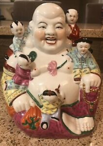 Large Chinese Famille Rose Porcelain Laughing Buddha W Kids 9 1 Marked And N