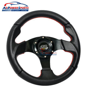 6 Bolt Universal Fit 280mm Red Stitch Black Pvc Leather Mugen Steering Wheel Jdm