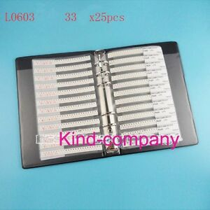 33value 825pcs 0603 Multilayer Chip Ceramic Inductor Assorted Book Kit Sample H