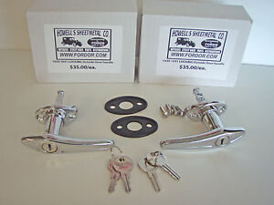 1930 1931 Model A Ford Locking Door Handle Set With Pads Screws Coupe Sedan
