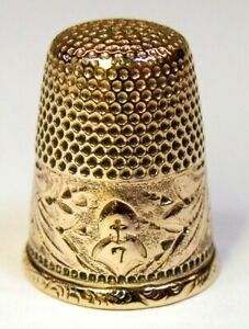 Antique Barker Co Gold Thimble Leaf Pattern L M Monogram C1890s