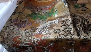 Vintage Silk Chinese Embroidered Brocade 78 X 54 Inch Table Cloth