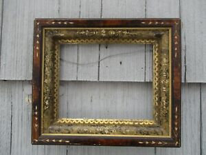 Antique 19thc Eastlake Era Faux Painted Deep Wood Picture Frame W Glass Fit 8x10