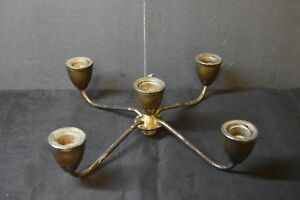 5 Candle Candelabra Sterling Silver Plated Weighted Holder No Stick Bottom Pc