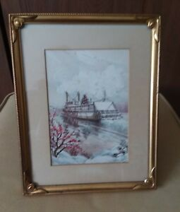 Antique Vintage Framed Lithograph Picture Paddle Boat With Christmas Tree