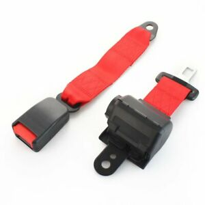 2 Point Color Red Retractable Seat Belt Strap Buckle Seat Belt Cars Universal X2