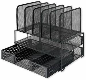 Desk Organizer Sliding Drawer double Tray And 5 Upright Sections