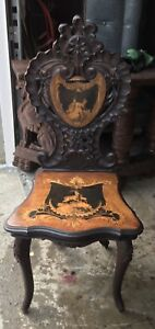 Inlaid Black Forest Walnut Carved Chair