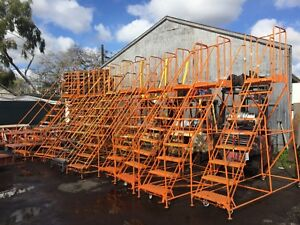9 Step Steel Rolling Warehouse Safety Ladder