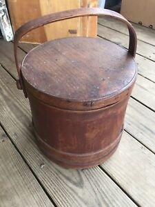 Antique Primitive Firkin Wooden Sugar Bucket With Swing Handle Lid