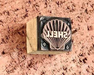 Shell Gas Logo Printing Block Wood Copper Lead Vintage Letter Press Plate