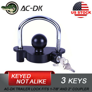 Ac Dk Trailer Hitch Coupler Lock Trailer Tongue Lock Black With 3 Keys