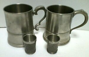 England James Yates Compton Pewter Stein Mug And Metal Zinn Shot Glasses