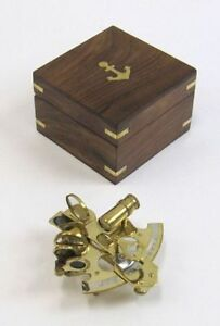 4 Brass Sextant With Wooden Box