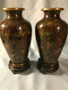 Matching Cloisonn Cabinet Vases 7 25 With Stands Multicolored Floral Pattern