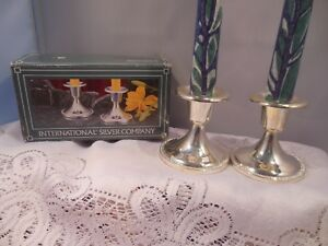 Pair International Silver Company Silver Plated Tapered Candle Holders 3 Tall