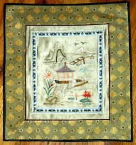 Vintage Chinese Silk Hand Embroidery Forbidden Stitch Panel Textiles Tapestry