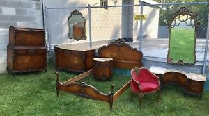 1920 S French Style Inlaid Carved Marble Top Mahogany 8 Pc Bedroom Set