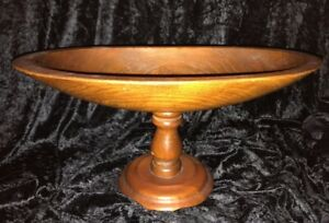Vintage Hand Crafted Oval Wood Pedestal Bowl Dish Beautiful Grain 15 X 7 1 4