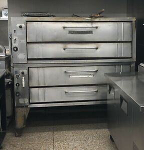 Bakers Pride Y602 60 Deck Doube Stacked Gas Pizza Ovens Used
