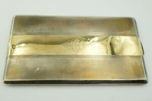 Antique Vintage Rb Co Sterling Silver And 14k Yellow Gold Inlay Cigarette Case