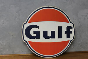 Vintage Style Gulf Gas Service Station Emboss Metal Signs Gas Pump Globe Oil New