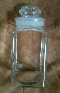 Vintage Dakota Square Candy Jar W Ground Glass Lid Stopper Apothecary Rx
