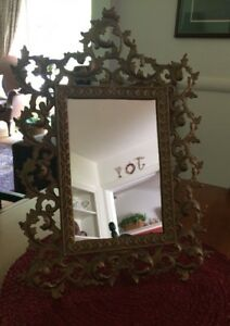 Antique Ornate Cast Iron Art Gold Frame Mirror On Stand