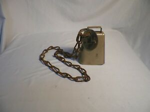 Old Vintage Antique Primitive Cow Bell W Neck Chain 14 Brass Tag Farm Decor