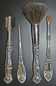 Vintage Silver Make Up Brush Set 1881 Rogers La Vigne Grapes Four Piece