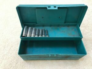 Snap On Tools Sae 7 Piece Vintage Deep Socket Set 3 8 Drive Plus Tool Box