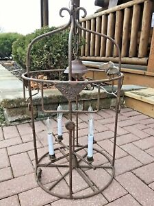 Antique Wrought Cast Iron Ceiling Lamp Light Chandelier Porch Industrial