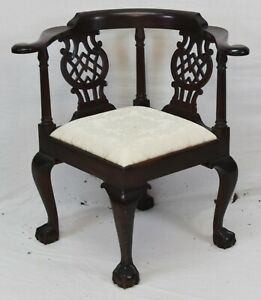 Stickley Colonial Williamsburg Mahogany Chippendale Corner Chair Damask Fabric