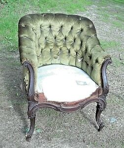 A Wonderful Hand Carved Victorian Rococo Louis Xv Upholstered Tub Chair