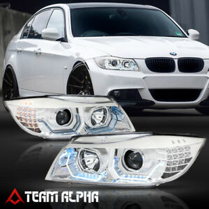 Fits 2009 2012 Bmw E90 F30 Style 3d Halo Led Signal Chrome Projector Headlight
