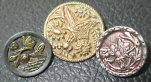 Lot 3 Antique Victorian Metal Picture Buttons Butterfly Insects Gilt Red