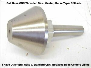 Rotech Bull Nose Cnc Threaded Dead Center For Id Od Grinder Mt 3 Shank Us Made